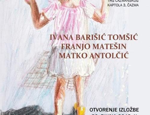 """Otvorenje izložbe slika """"4. Likovni susret"""" autora Ivane Barišić Tomšić, Franje Matešina i Matka Antolčića"""