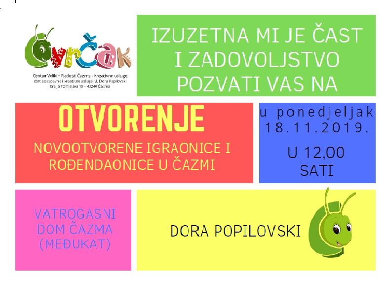 Otvara se prva specijalizirana igraonica i rođendaonica u Čazmi – CVRČAK